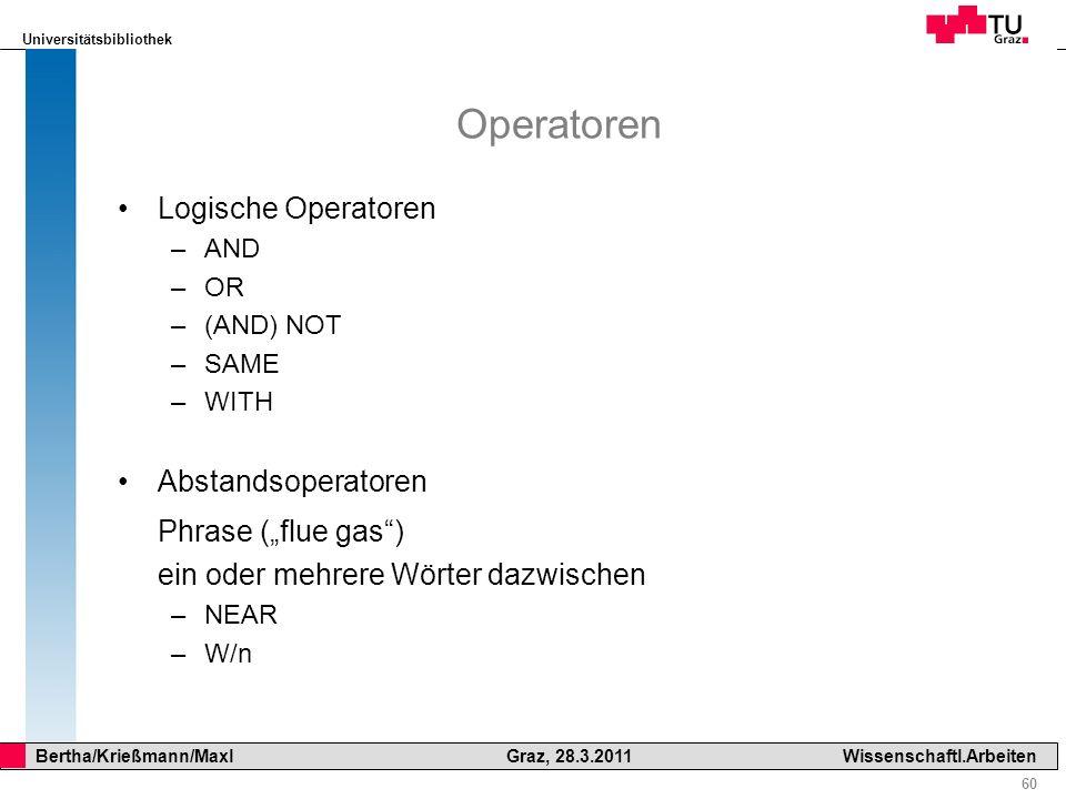"""Operatoren Phrase (""""flue gas ) Logische Operatoren Abstandsoperatoren"""