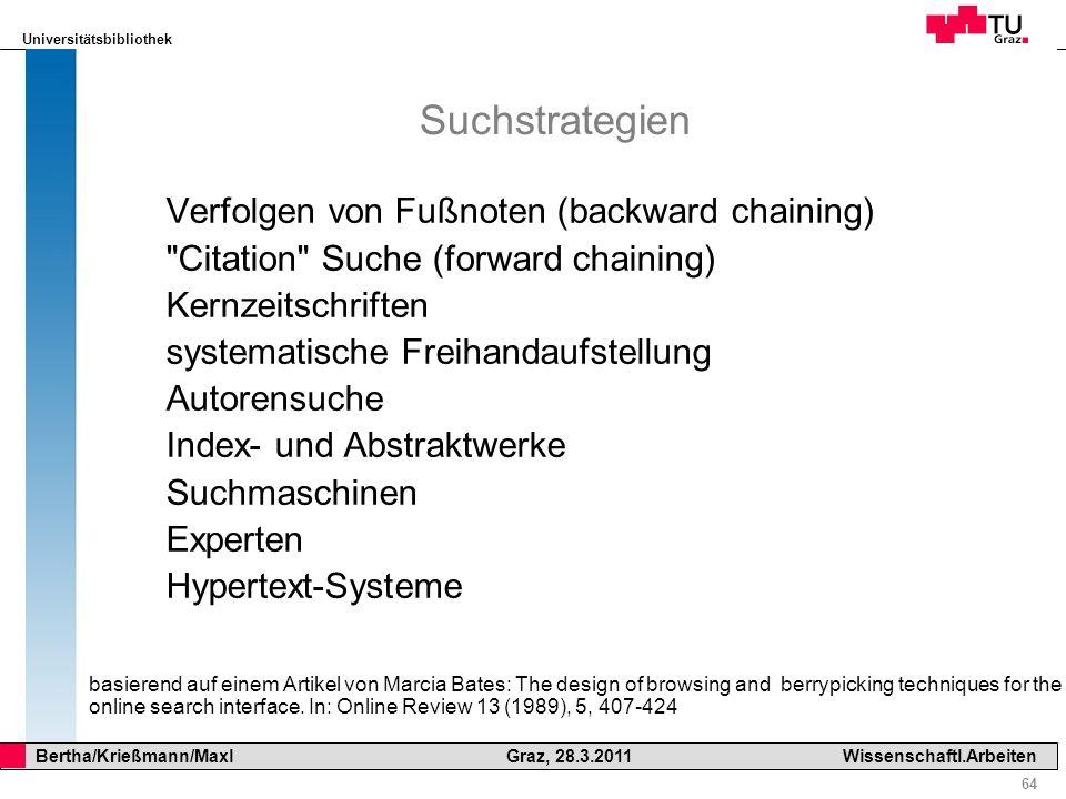 Suchstrategien Verfolgen von Fußnoten (backward chaining)