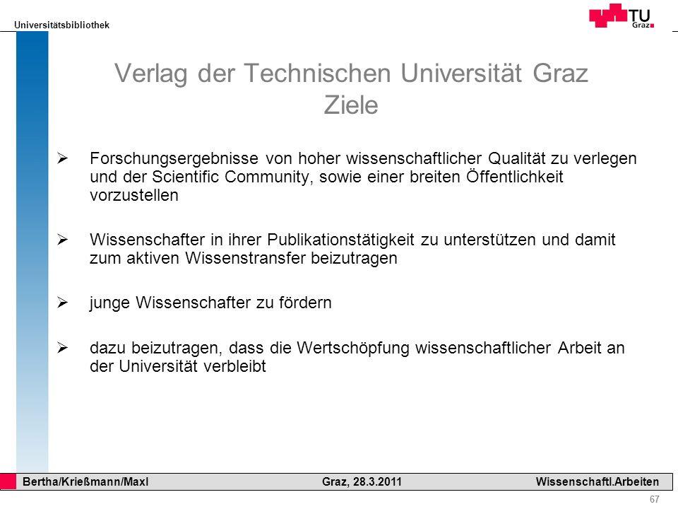 Verlag der Technischen Universität Graz Ziele