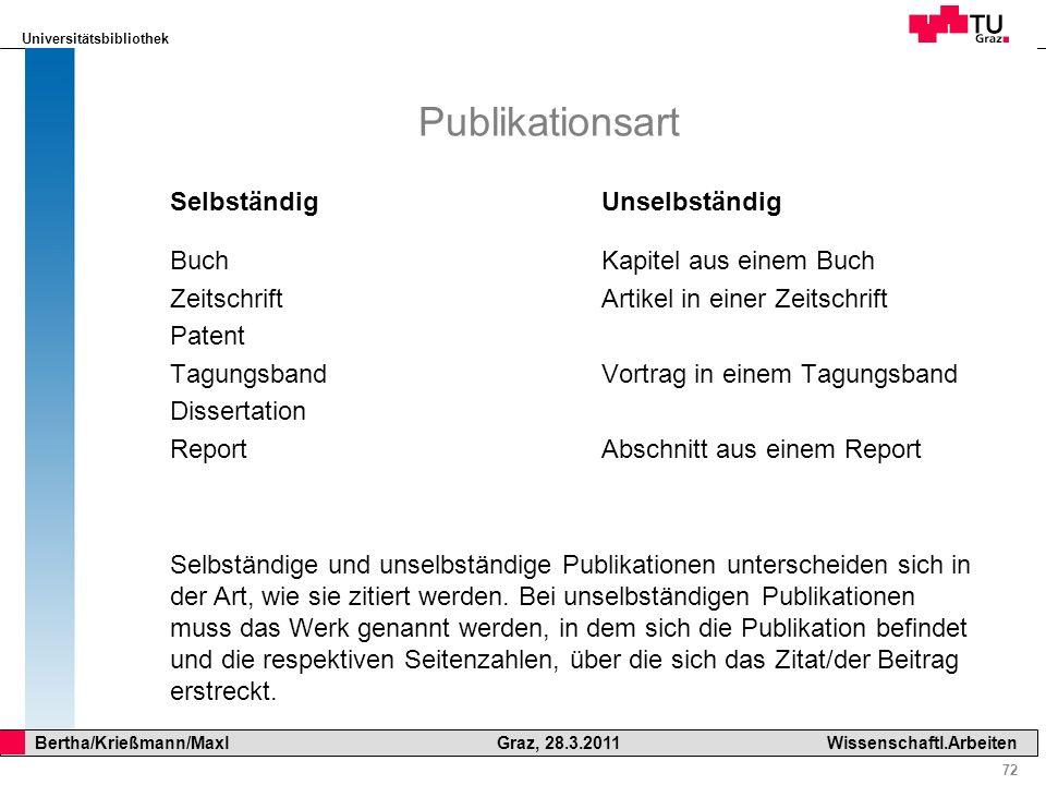 Publikationsart Selbständig Buch Zeitschrift Patent Tagungsband Dissertation Report