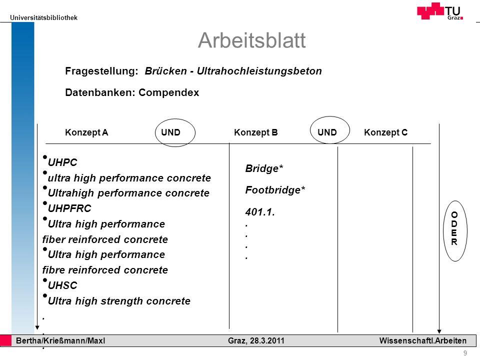 Arbeitsblatt Fragestellung: Brücken - Ultrahochleistungsbeton