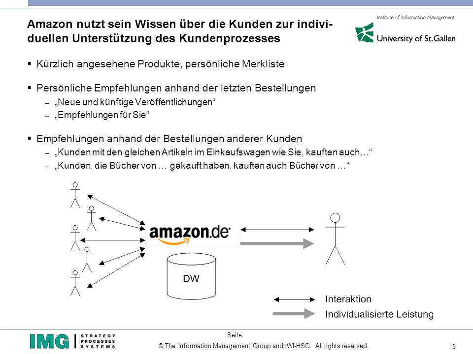 Amazon nutzt sein Wissen über die Kunden zur indivi- duellen Unterstützung des Kundenprozesses