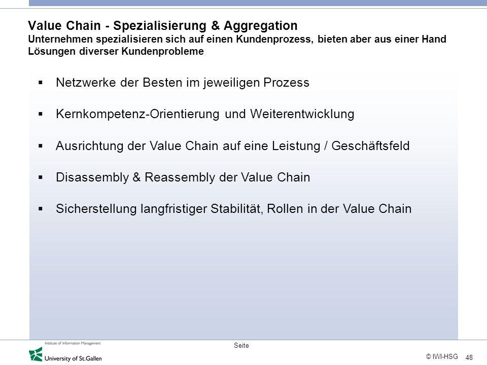 Value Chain - Spezialisierung & Aggregation Unternehmen spezialisieren sich auf einen Kundenprozess, bieten aber aus einer Hand Lösungen diverser Kundenprobleme
