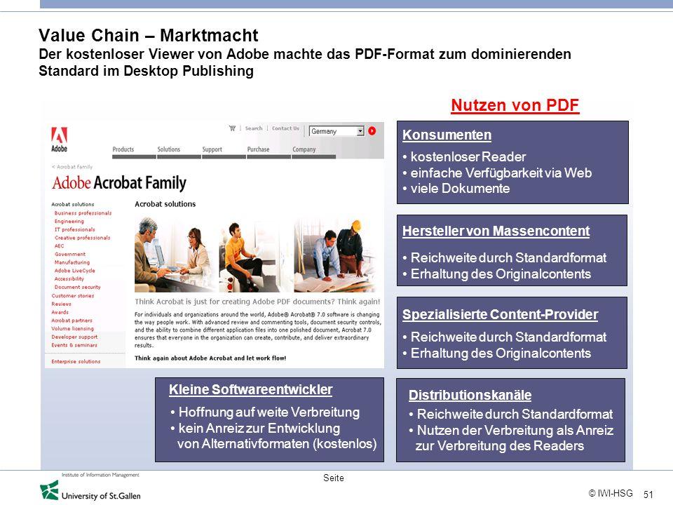 Value Chain – Marktmacht Der kostenloser Viewer von Adobe machte das PDF-Format zum dominierenden Standard im Desktop Publishing