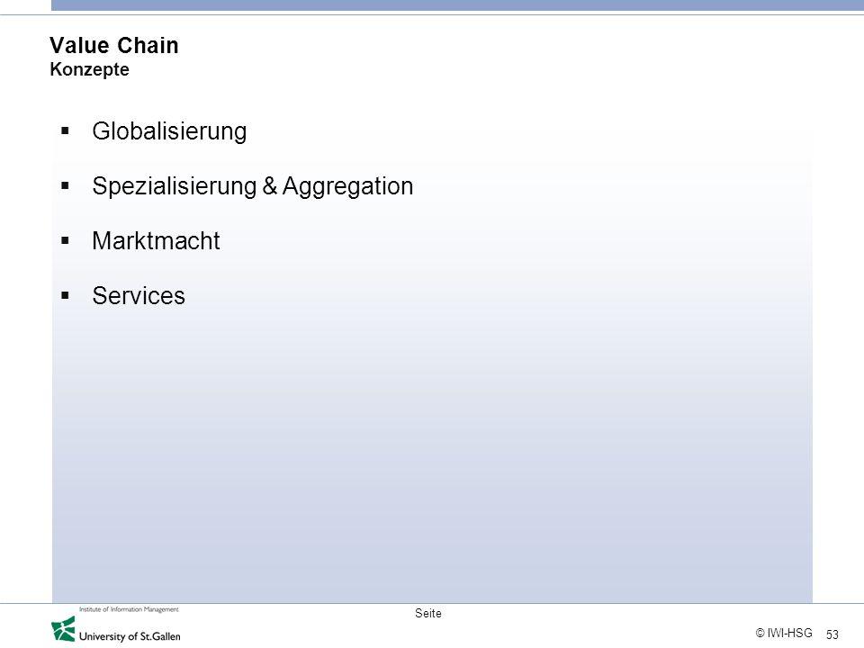 Spezialisierung & Aggregation Marktmacht Services