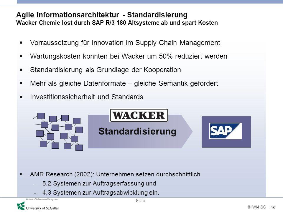 Agile Informationsarchitektur - Standardisierung Wacker Chemie löst durch SAP R/3 180 Altsysteme ab und spart Kosten