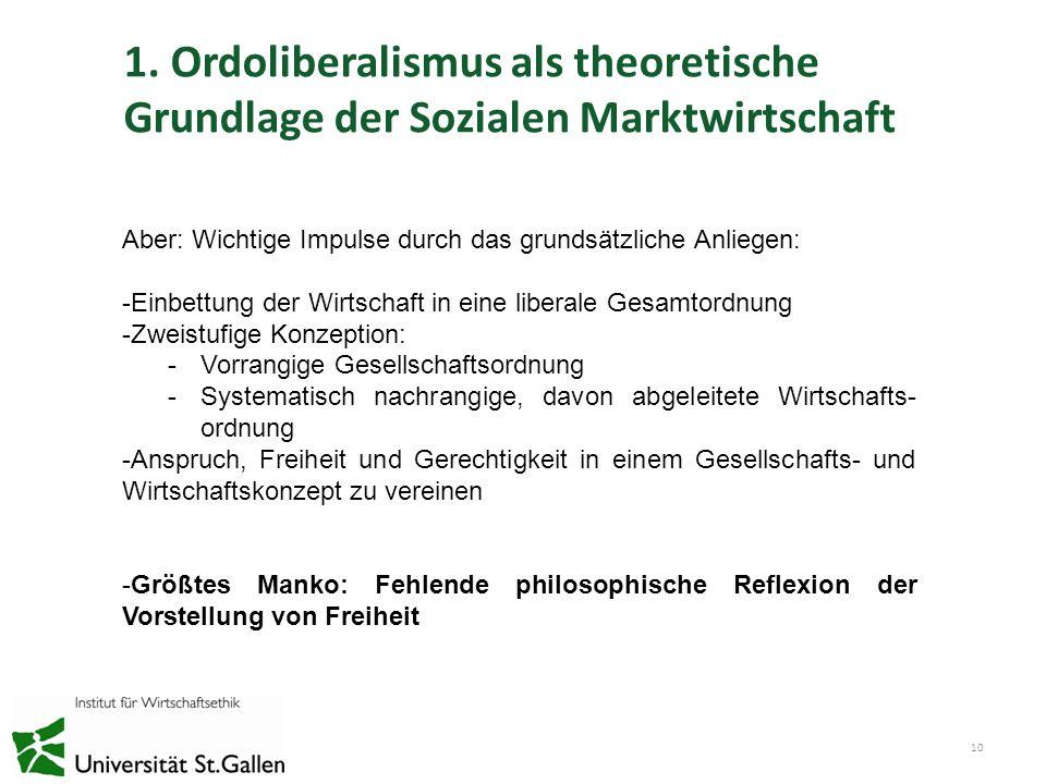 1. Ordoliberalismus als theoretische Grundlage der Sozialen Marktwirtschaft