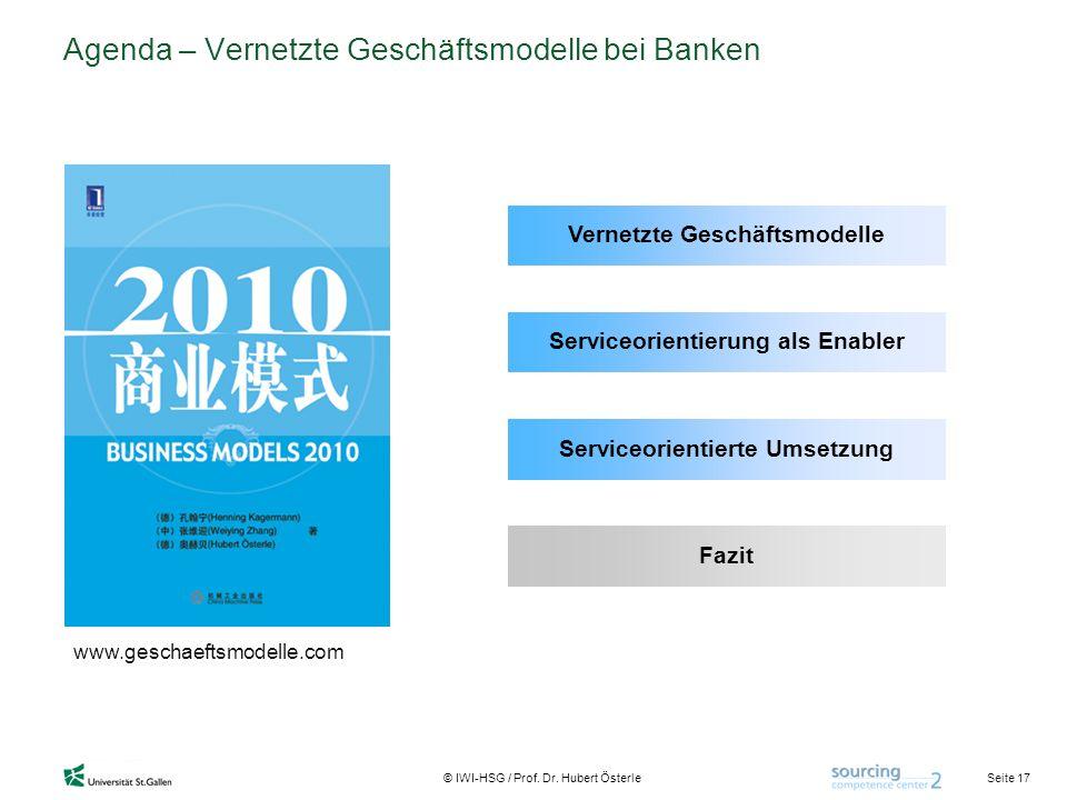 Agenda – Vernetzte Geschäftsmodelle bei Banken