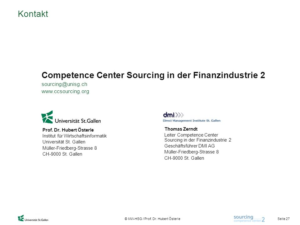 Competence Center Sourcing in der Finanzindustrie 2