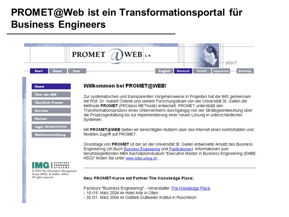 ist ein Transformationsportal für Business Engineers