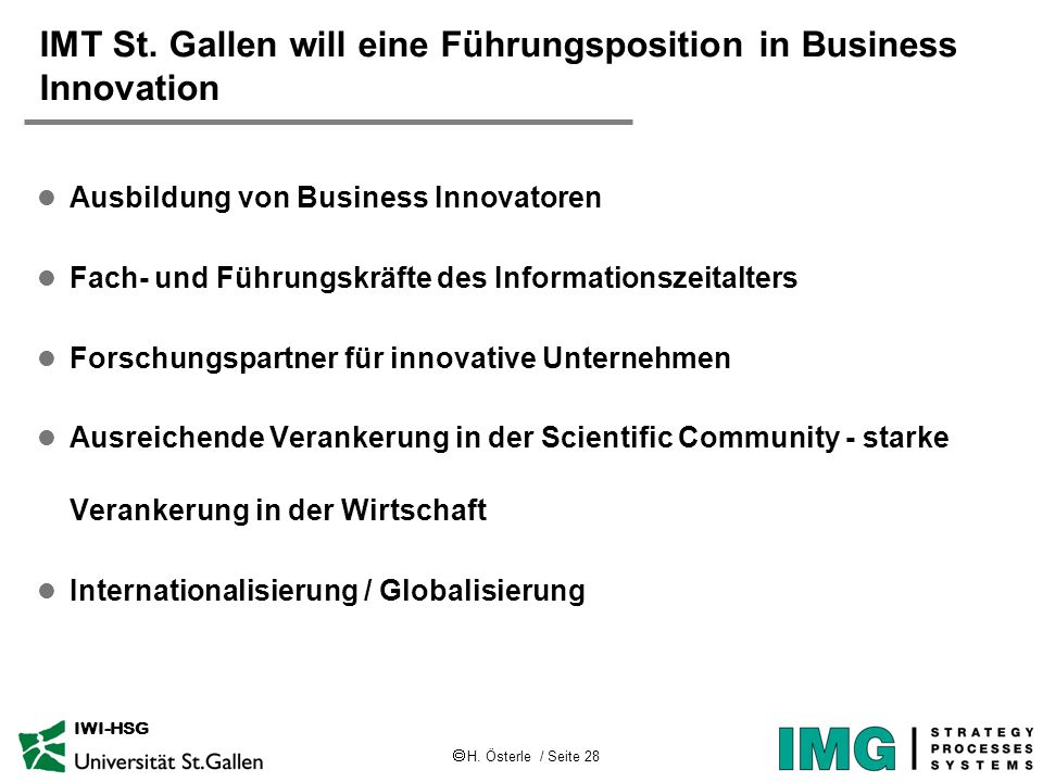 IMT St. Gallen will eine Führungsposition in Business Innovation