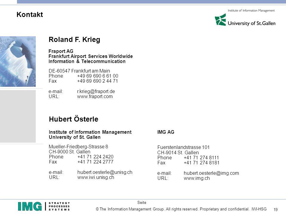 Kontakt Roland F. Krieg Hubert Österle Fraport AG