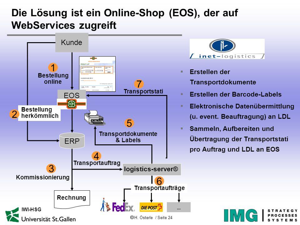 Die Lösung ist ein Online-Shop (EOS), der auf WebServices zugreift