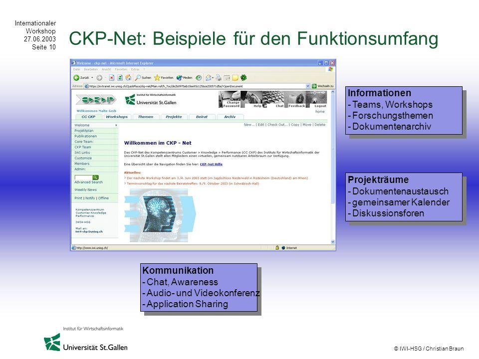 CKP-Net: Beispiele für den Funktionsumfang