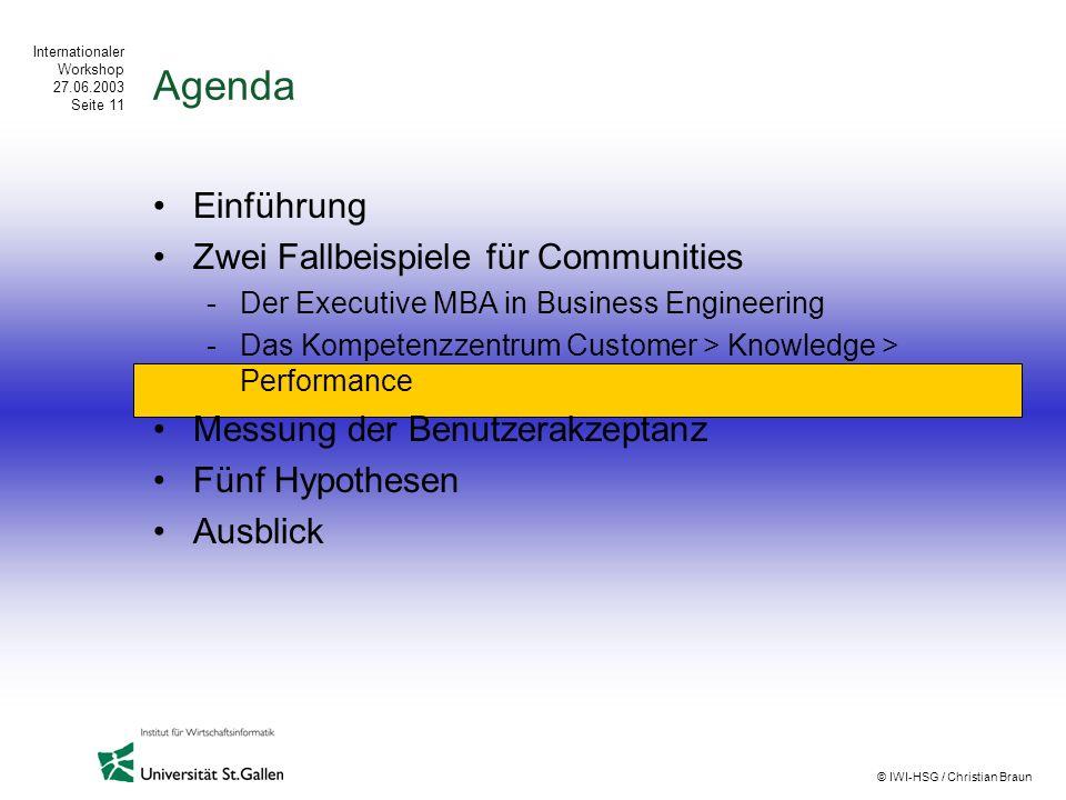 Agenda Einführung Zwei Fallbeispiele für Communities