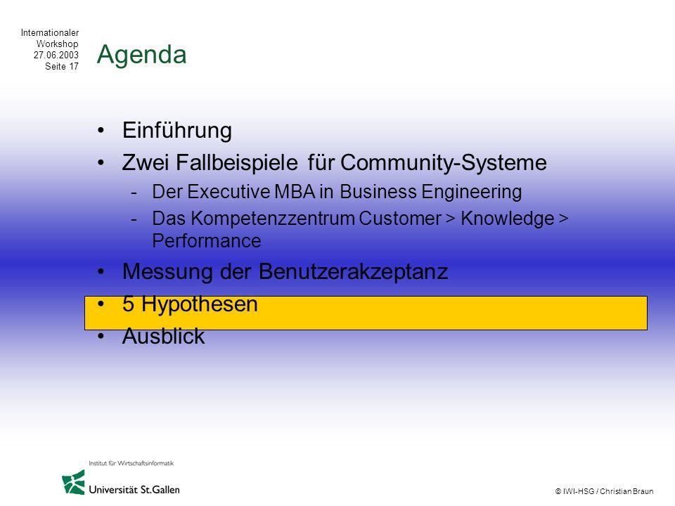 Agenda Einführung Zwei Fallbeispiele für Community-Systeme
