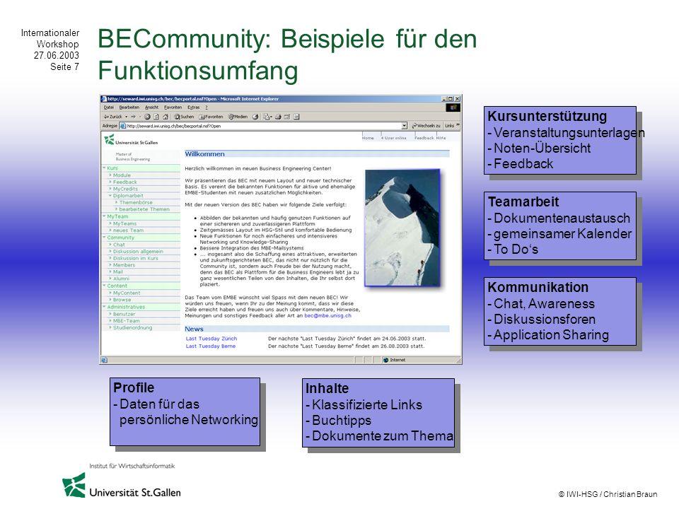 BECommunity: Beispiele für den Funktionsumfang