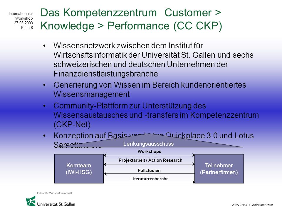 Das Kompetenzzentrum Customer > Knowledge > Performance (CC CKP)