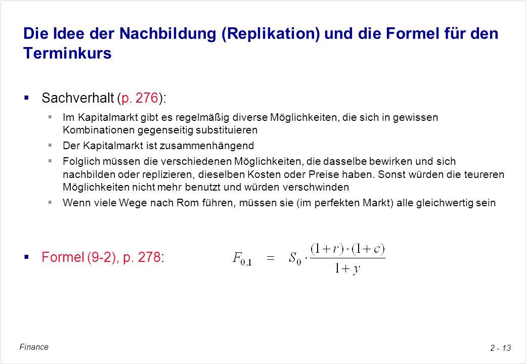 Die Idee der Nachbildung (Replikation) und die Formel für den Terminkurs