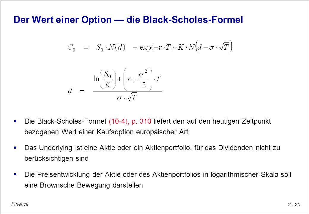 Der Wert einer Option — die Black-Scholes-Formel