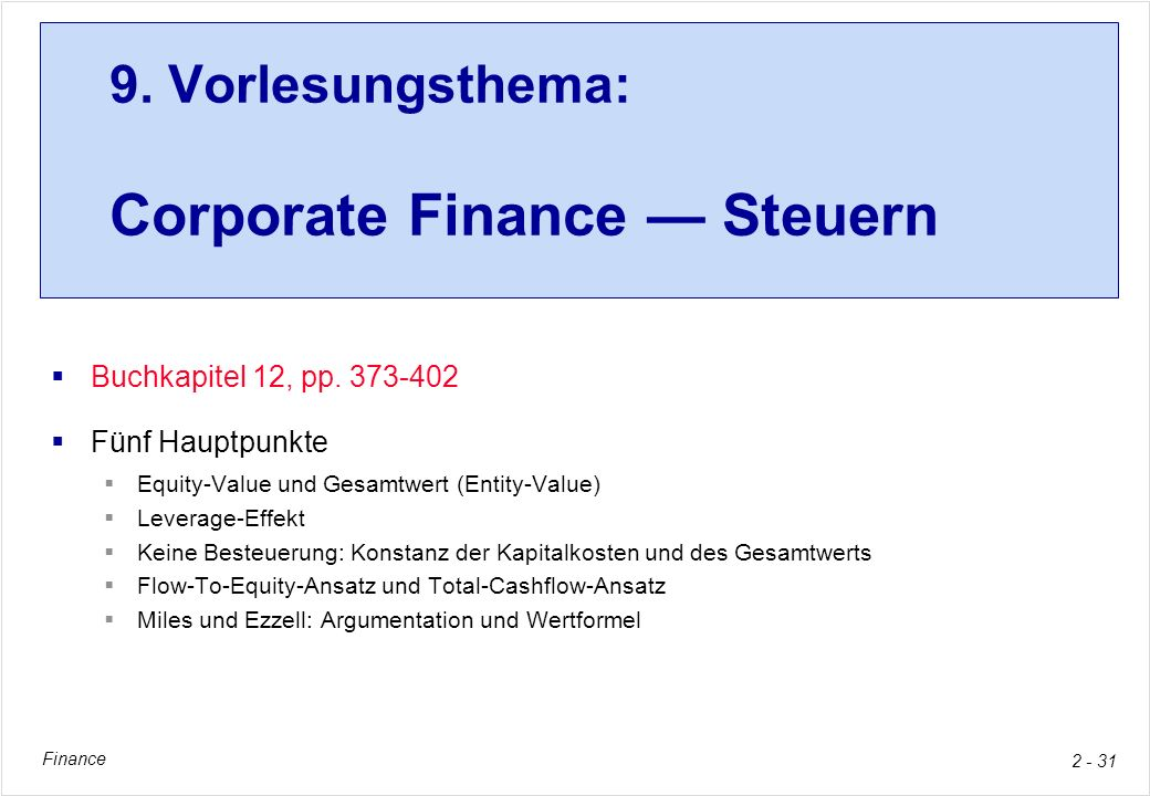 9. Vorlesungsthema: Corporate Finance — Steuern