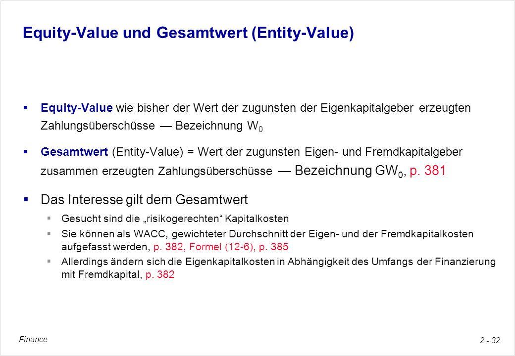 Equity-Value und Gesamtwert (Entity-Value)