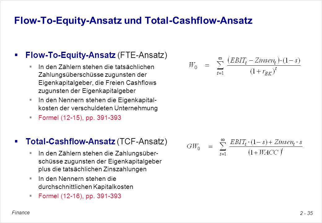 Flow-To-Equity-Ansatz und Total-Cashflow-Ansatz