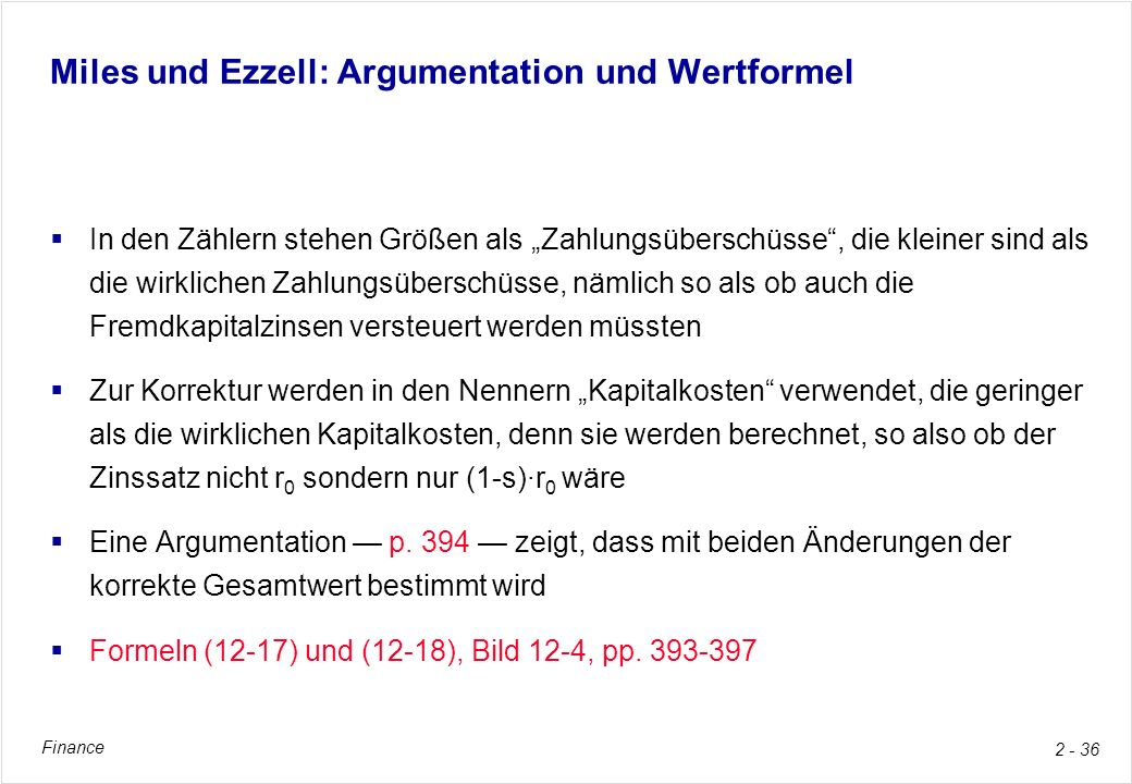 Miles und Ezzell: Argumentation und Wertformel