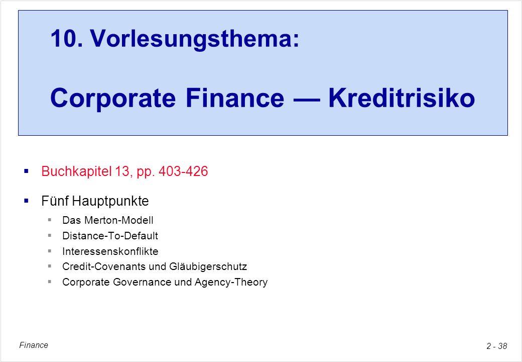 10. Vorlesungsthema: Corporate Finance — Kreditrisiko