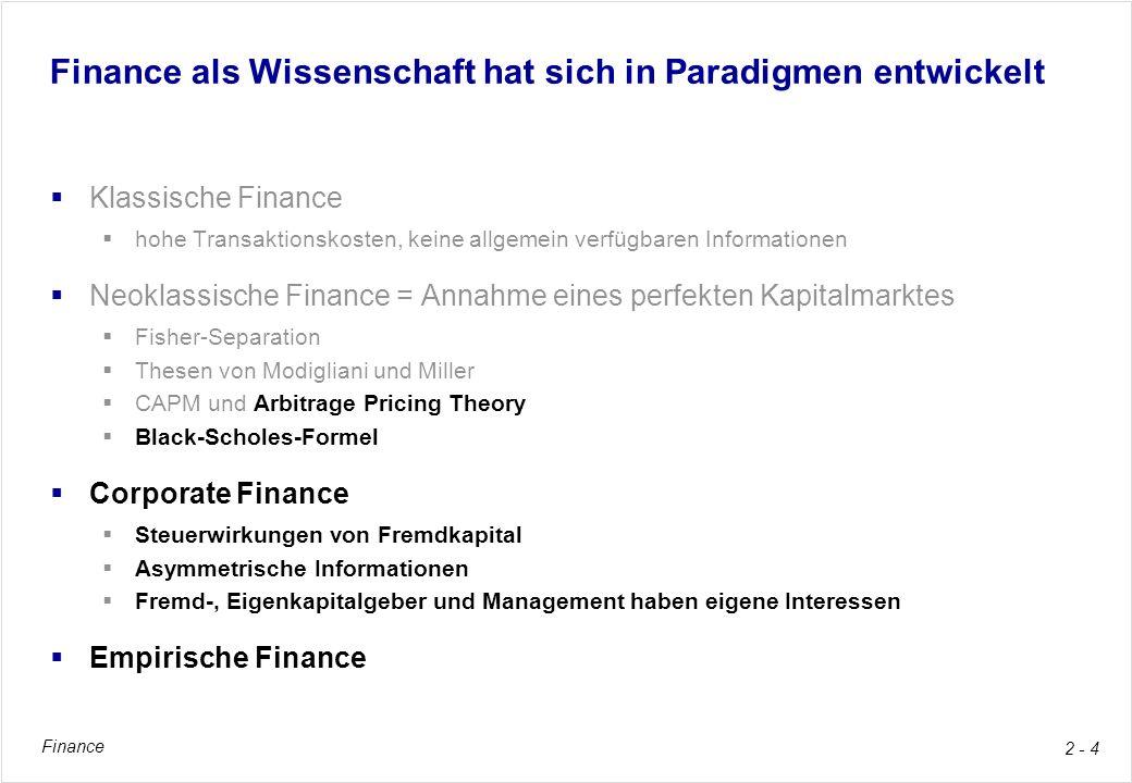 Finance als Wissenschaft hat sich in Paradigmen entwickelt
