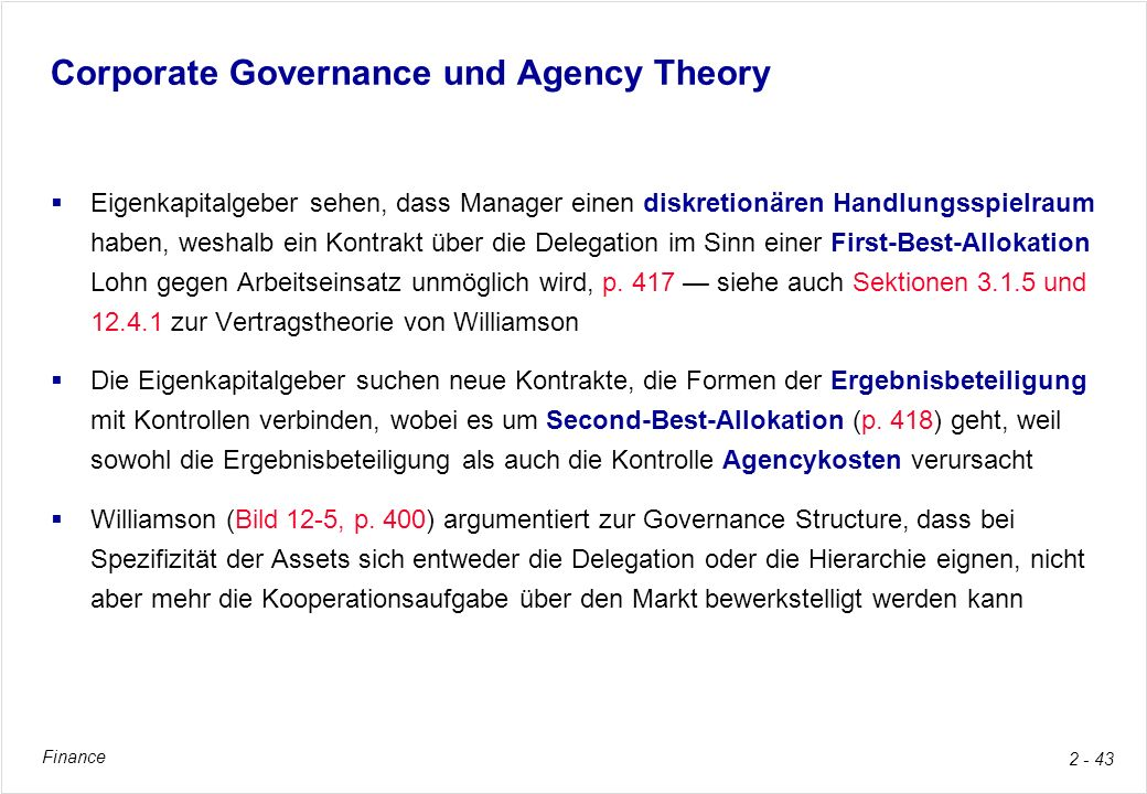 Corporate Governance und Agency Theory