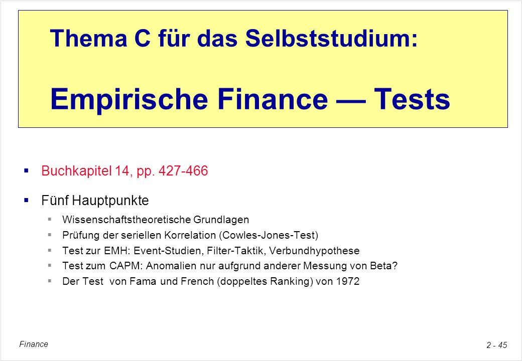 Thema C für das Selbststudium: Empirische Finance — Tests