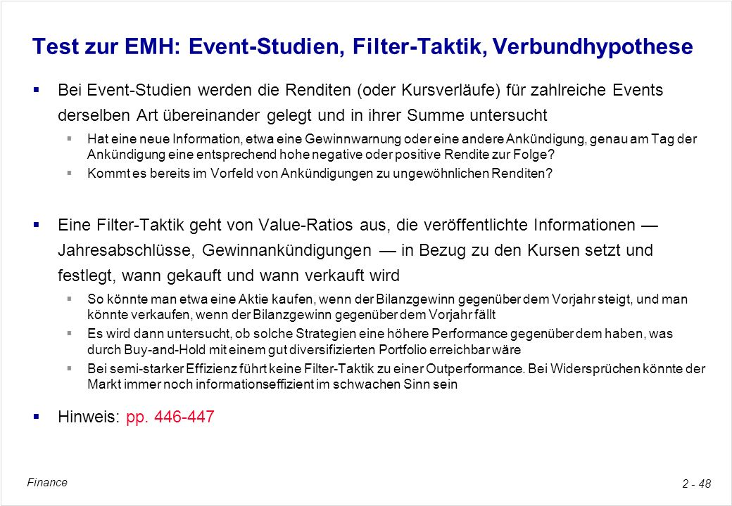 Test zur EMH: Event-Studien, Filter-Taktik, Verbundhypothese