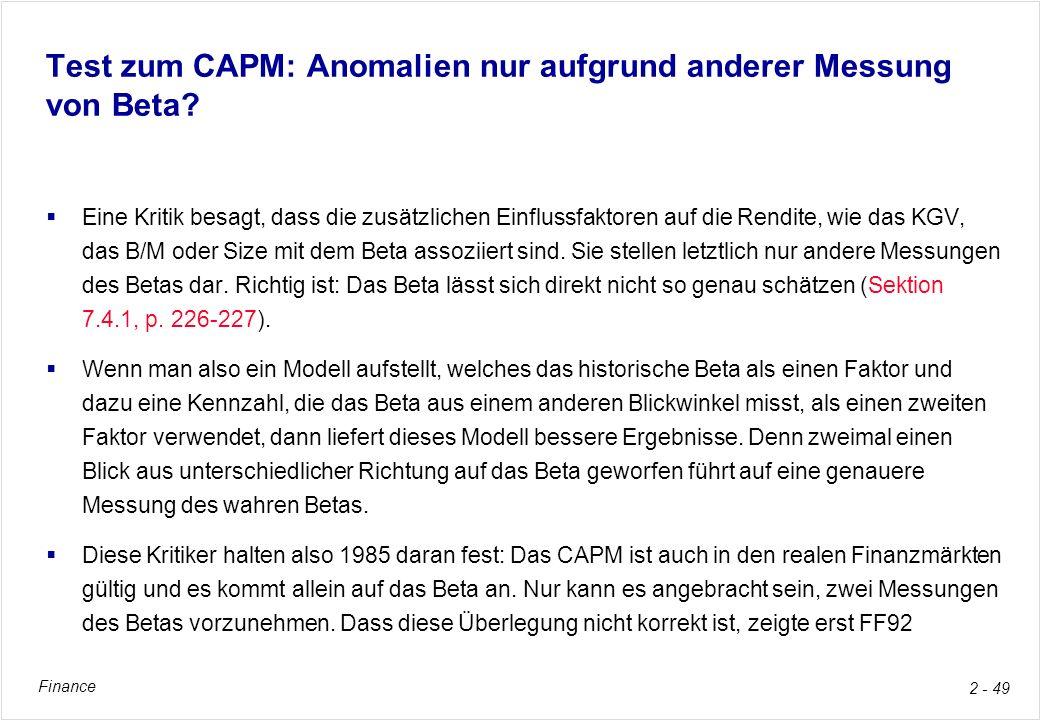 Test zum CAPM: Anomalien nur aufgrund anderer Messung von Beta