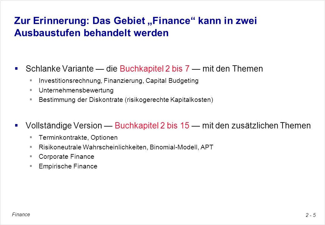 """Zur Erinnerung: Das Gebiet """"Finance kann in zwei Ausbaustufen behandelt werden"""