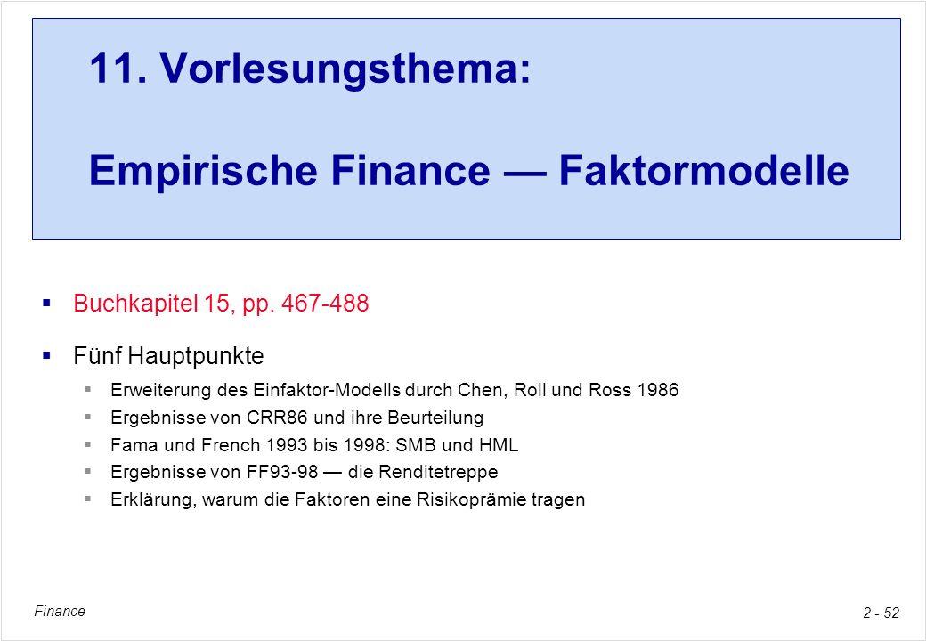 11. Vorlesungsthema: Empirische Finance — Faktormodelle