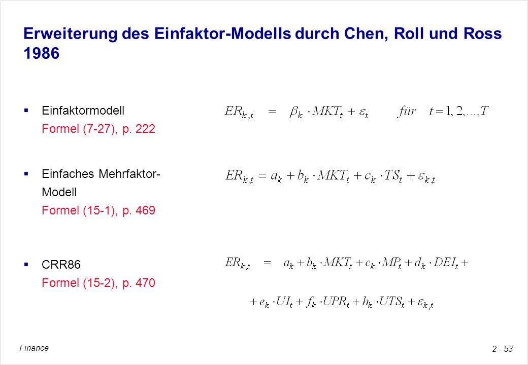 Erweiterung des Einfaktor-Modells durch Chen, Roll und Ross 1986