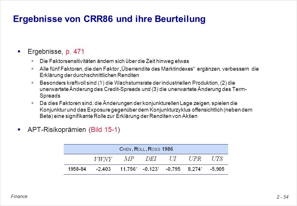 Ergebnisse von CRR86 und ihre Beurteilung