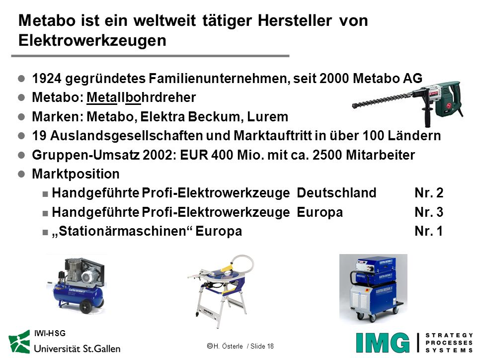 Metabo ist ein weltweit tätiger Hersteller von Elektrowerkzeugen