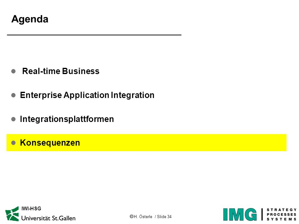 Agenda Real-time Business Enterprise Application Integration