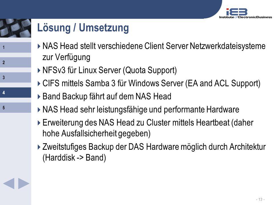 Lösung / Umsetzung NAS Head stellt verschiedene Client Server Netzwerkdateisysteme zur Verfügung. NFSv3 für Linux Server (Quota Support)
