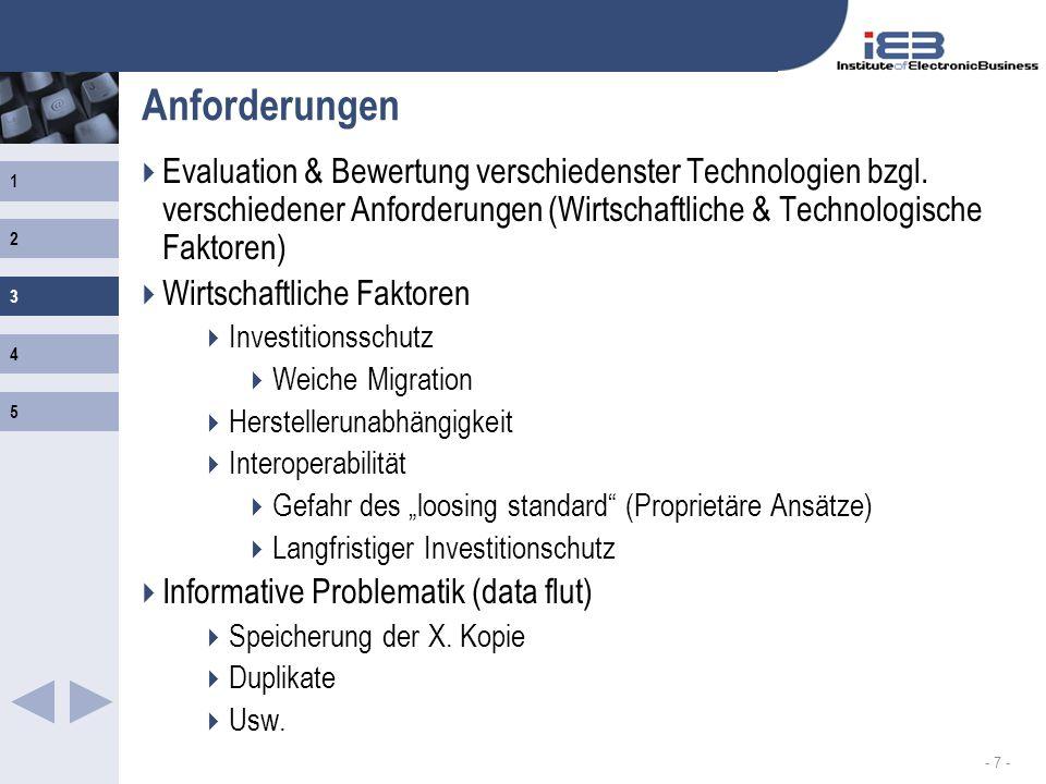 Anforderungen Evaluation & Bewertung verschiedenster Technologien bzgl. verschiedener Anforderungen (Wirtschaftliche & Technologische Faktoren)