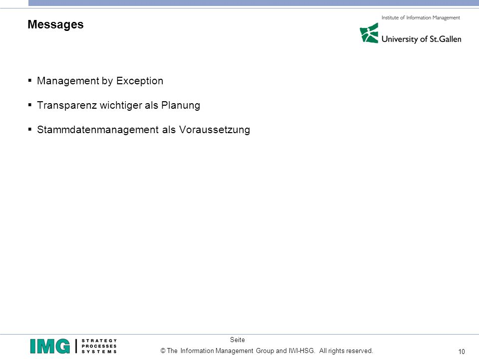 Messages Management by Exception Transparenz wichtiger als Planung