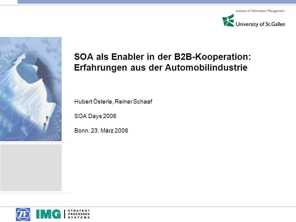 Hubert Österle, Reiner Schaaf SOA Days 2006 Bonn, 23. März 2006
