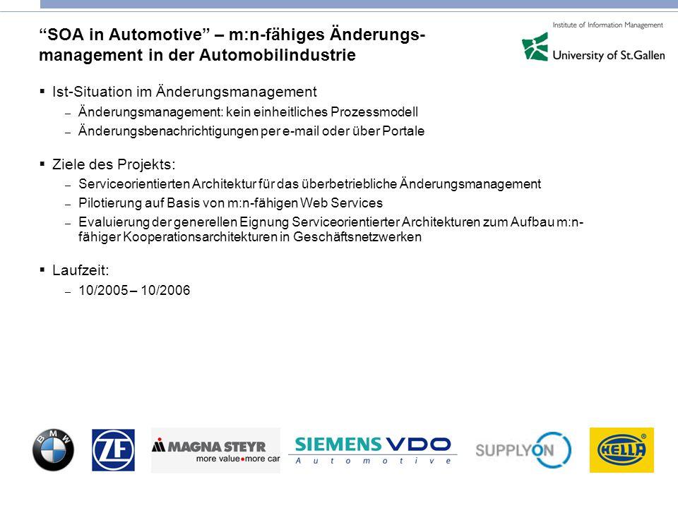SOA in Automotive – m:n-fähiges Änderungs- management in der Automobilindustrie