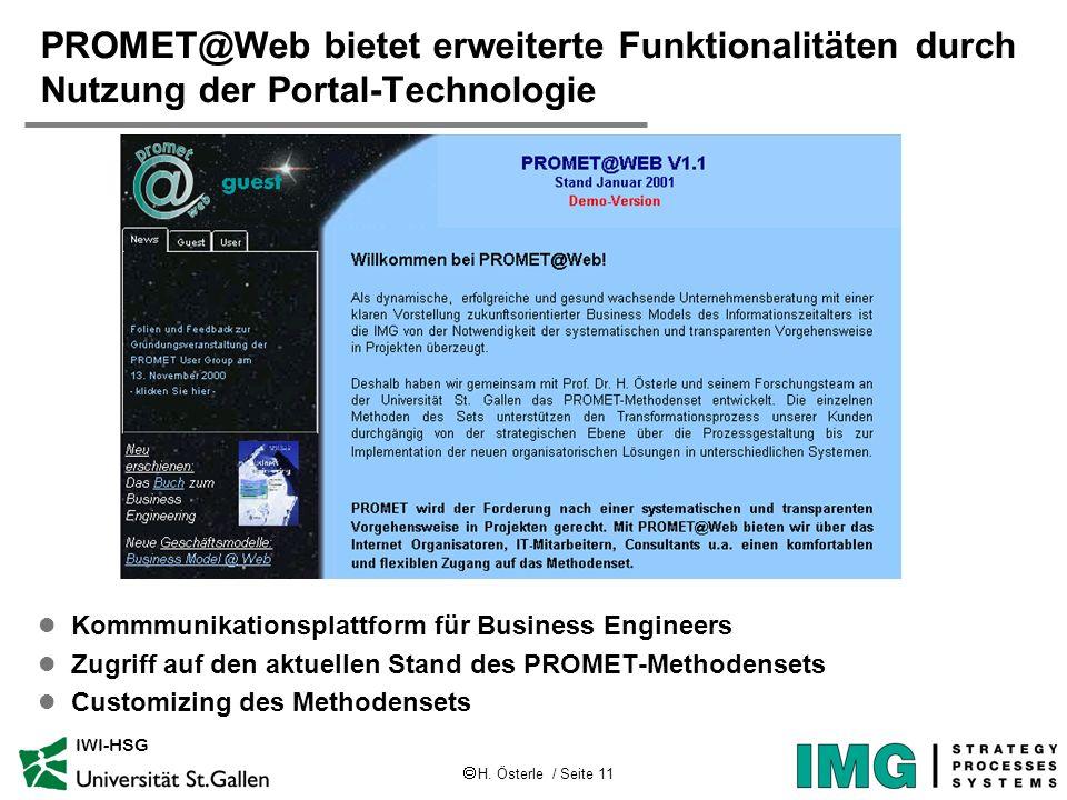 PROMET@Web bietet erweiterte Funktionalitäten durch Nutzung der Portal-Technologie