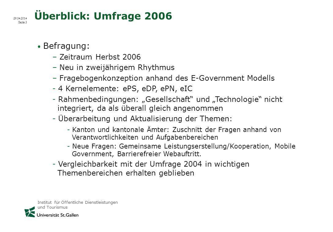 Überblick: Umfrage 2006 Zeitraum Herbst 2006