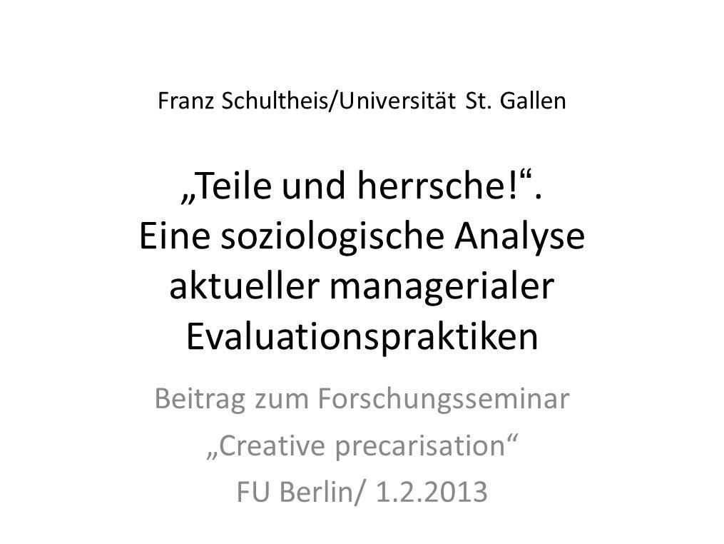 """Beitrag zum Forschungsseminar """"Creative precarisation"""