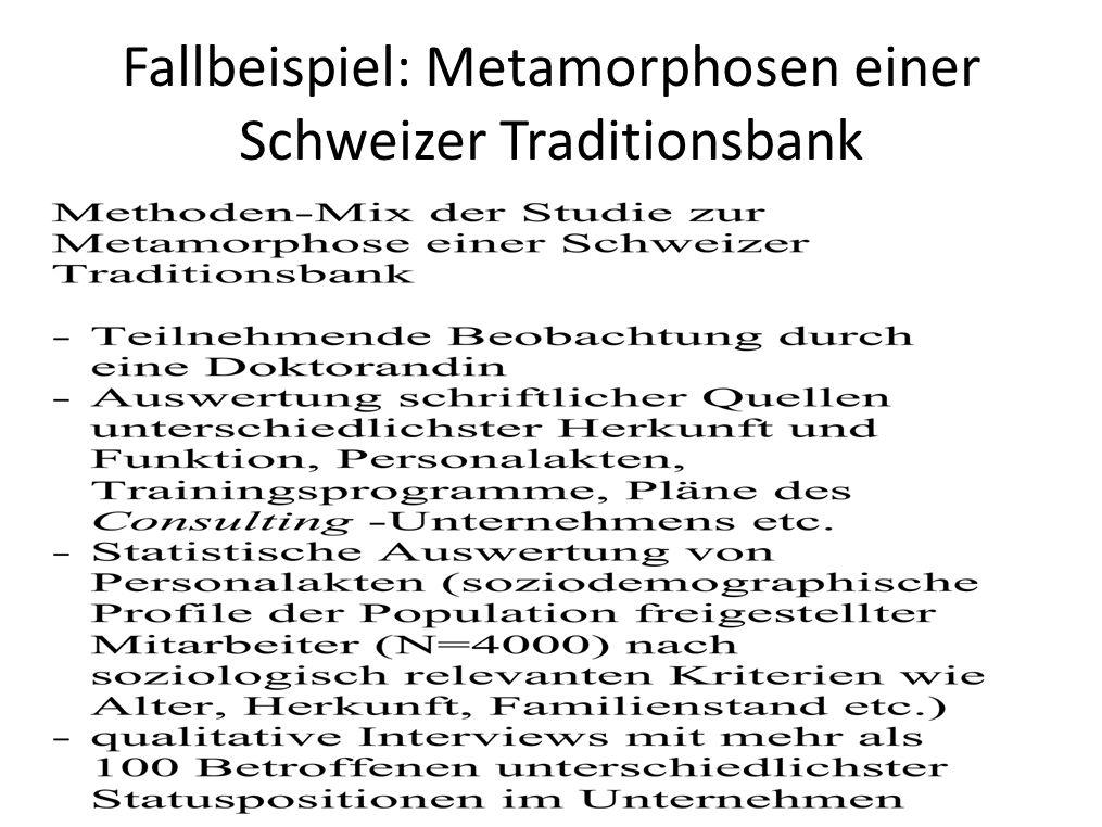 Fallbeispiel: Metamorphosen einer Schweizer Traditionsbank