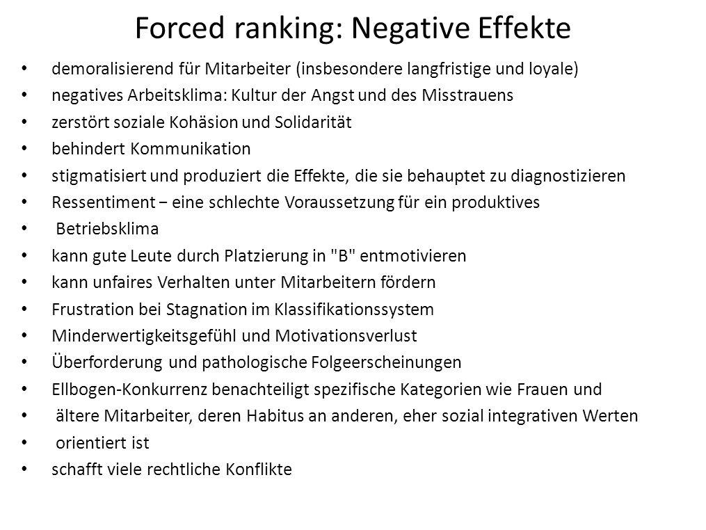 Forced ranking: Negative Effekte